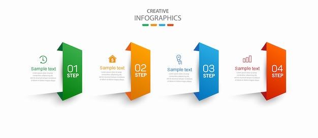 Kreative infografik-vorlage mit symbolen und 4 optionen oder schritten