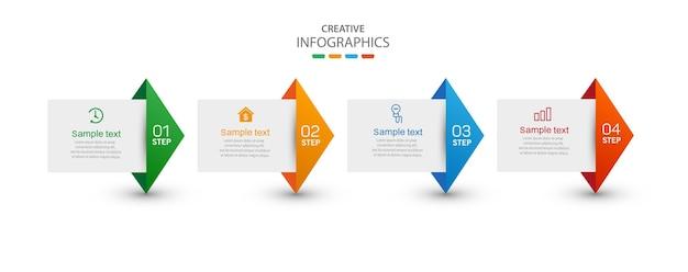 Kreative infografik-vorlage mit symbolen und 4 optionen