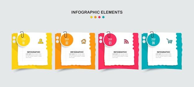 Kreative infografik vorlage mit vier optionen