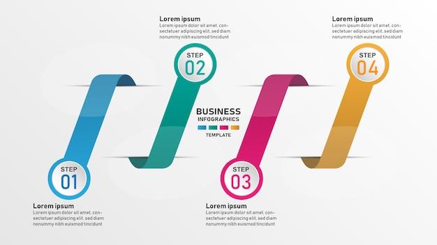 Kreative infographic designschablone, 4 konzeptbandtextboxen mit piktogrammen.