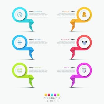 Kreative infographic schablone - 6 mehrfarbige beschriftete elemente