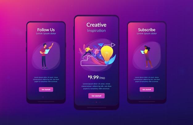 Kreative inspiration app interface-vorlage