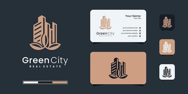 Kreative inspiration für das design des naturlogos. grüne stadt logo vorlagen
