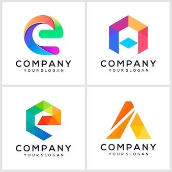 Kreative inspiration für das farbenfrohe buchstaben-logo-design des logos