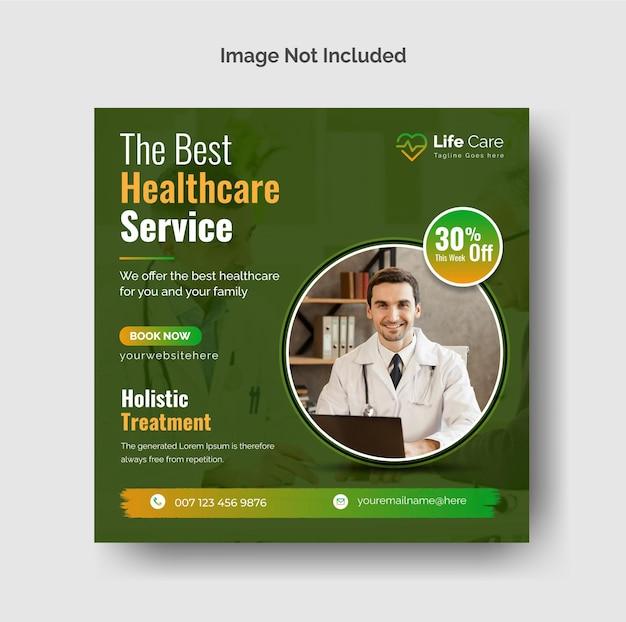 Kreative instagram-posten für medizin und gesundheitswesen oder social media-webbanner-vorlage premium-vektor
