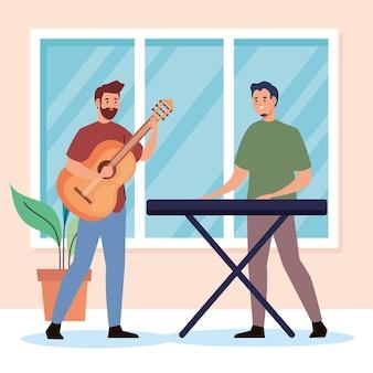 Kreative junge männer, die gitarren- und klavierfiguren spielen