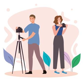 Kreative junge paarfotografen