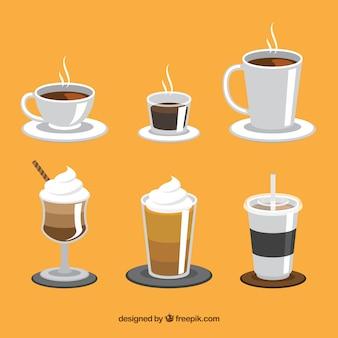 Kreative kaffeetassesammlung von sechs