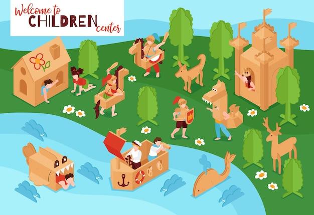 Kreative kinderzentrum spielplatz pappe schloss schiff wal spielzeug bäume isometrische illustration
