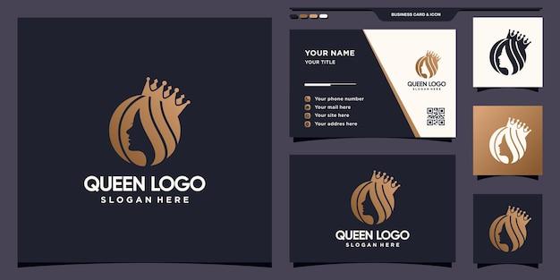 Kreative königin logoschablone mit negativem raumkonzept und visitenkartendesign premium-vektor