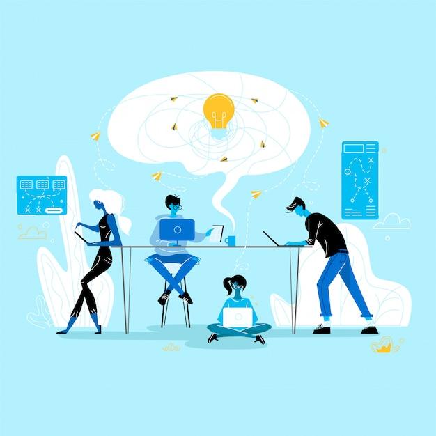 Kreative krise. geschäftsleute gruppieren im büro oder in coworking place, arbeitsprozeß