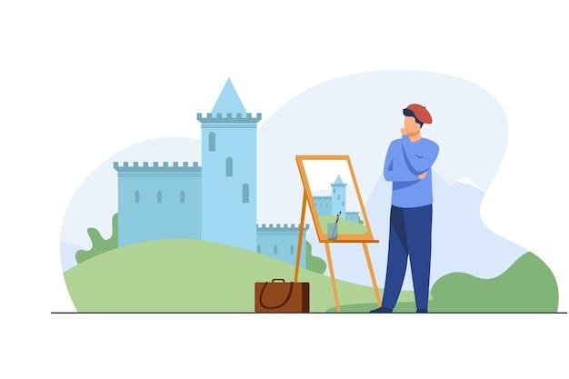 Kreative künstlermalerei burg. pinsel, landschaft, landschaft flache vektorillustration. kunst- und kreationskonzept