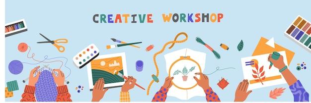 Kreative kunstwerkstatt für kinder, zeichnen, sticken