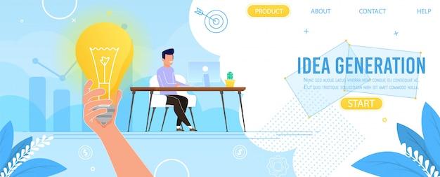 Kreative landing page, die ideenfindung präsentiert