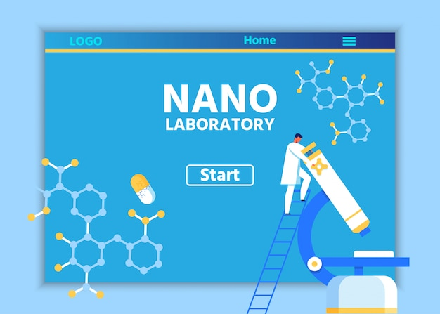 Kreative landing page für scientific lab online