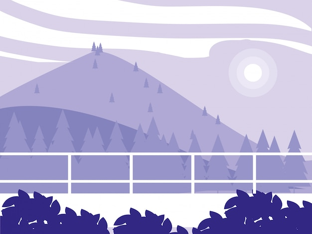 Kreative landschaft mit den bergen purpurrot