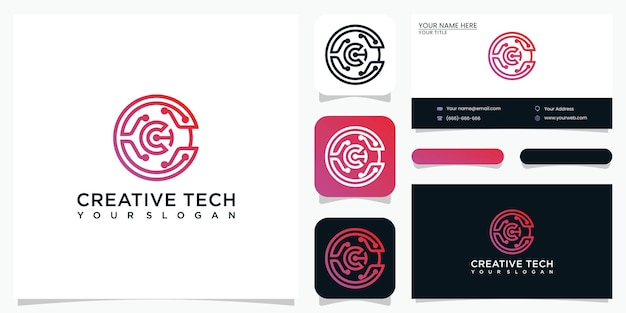 Kreative letter c logo design technologie und visitenkarte