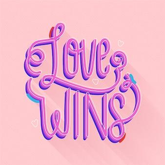 Kreative liebe gewinnt schriftzug