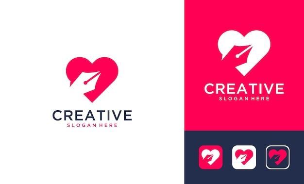 Kreative liebe mit bleistift-logo-design