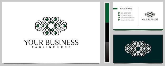 Kreative linie liebe logo design inspiration mit visitenkarte