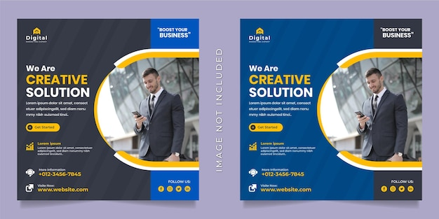 Kreative lösungsagentur und corporate business flyer square social media instagram post oder web-banner-vorlage
