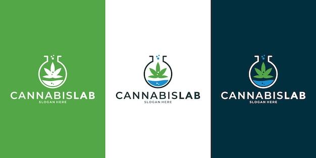 Kreative logo-designvorlage für das cannabis-marihuana-labor