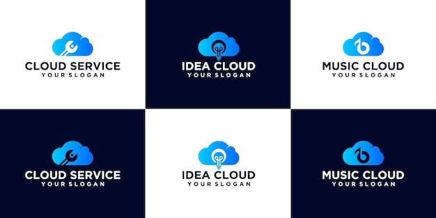 Kreative logo-set abstrakte technologiewolke