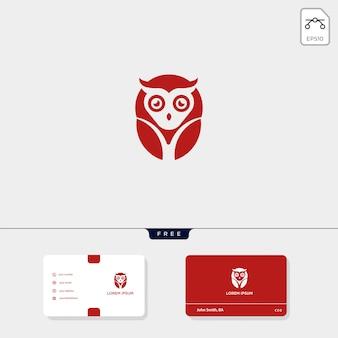 Kreative logo-vorlage des eulenkonzeptes und visitenkarteschablone umfassen