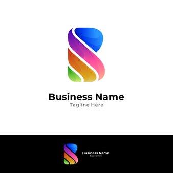 Kreative logoschablone des bunten buchstaben b mit farbverlaufsstil