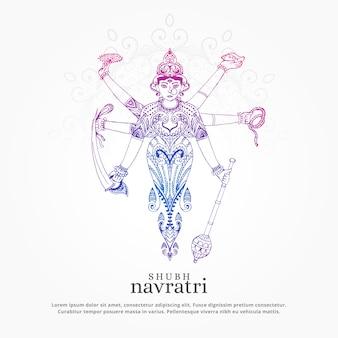Kreative maa durga illustration für navratri festival