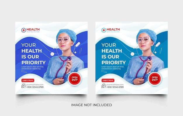Kreative medizinische social-media-post- und web-banner-vorlage oder flyer-vorlagenset