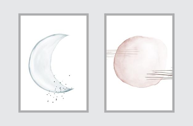 Kreative minimale kunst mit aquarell handgemalt für wandkunstsammlung.