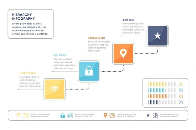Kreative minimalistische hierarchische infografik