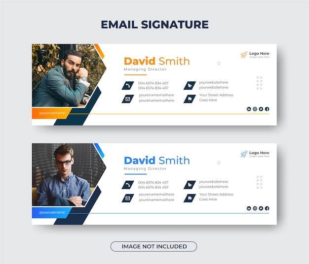 Kreative moderne e-mail-signaturvorlage oder e-mail-fußzeile und persönliches facebook-cover