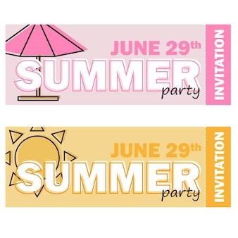 Kreative moderne flache designeinladung auf sommerparty mit linienkarikatursymbol und beispieltext - satz von zwei farbigen tickets