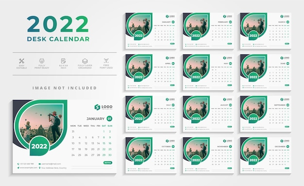 Kreative moderne grüne tischkalender-design-vorlage