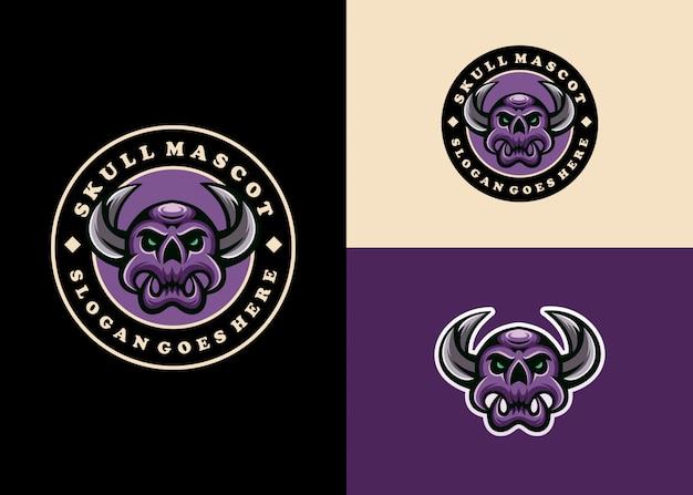 Kreative moderne schädel-emblem-maskottchen-logo-sammlung