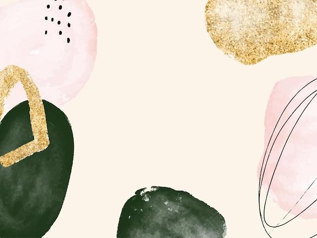 Kreative moderne tapete des minimalistischen abstrakten aquarellhintergrundes mit punktlinienfleckformen