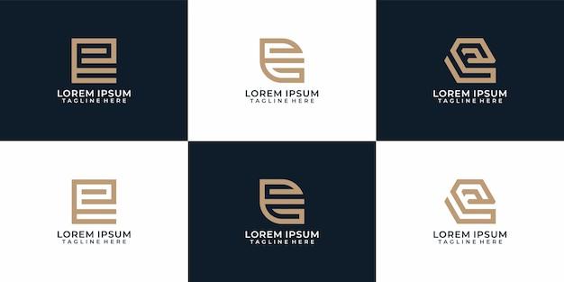 Kreative monogramm-elegant-buchstabe-e-logo-design-kollektion