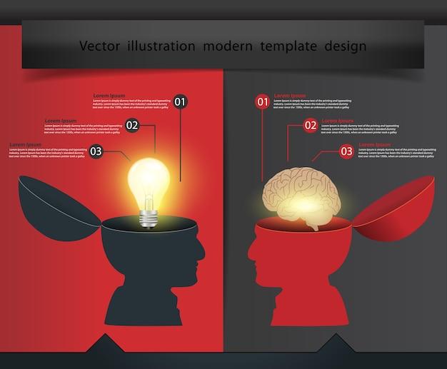 Kreative offene hand glühbirne mit gehirn