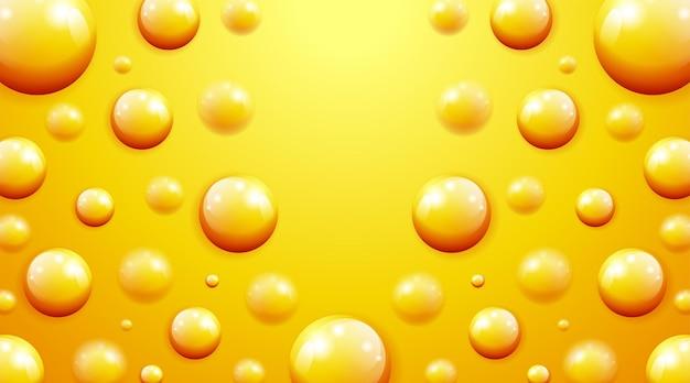 Kreative orange weiche realistische kugeln gelbe kugeln geometrisches banner