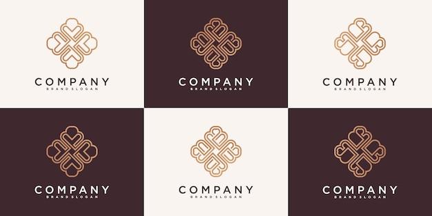 Kreative ornament logo design vorlage mit einzigartigem linie kunststil premium-vektor