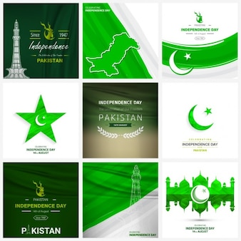 Kreative pakistan independence day hintergrund-set