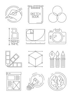 Kreative prozesssymbole. skizzieren sie das einbrennen von blogging grafischen kreativen symbolen der illustrationen der künstler