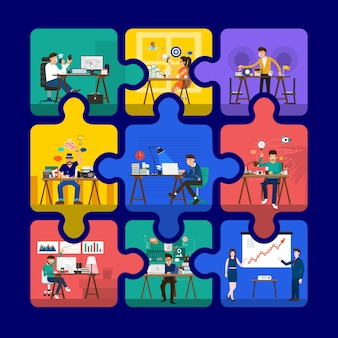 Kreative räume für die präsentation in puzzle