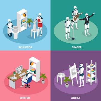 Kreative roboter isometrische zusammensetzung festgelegt