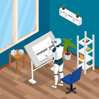 Kreative roboter-isometrische zusammensetzung