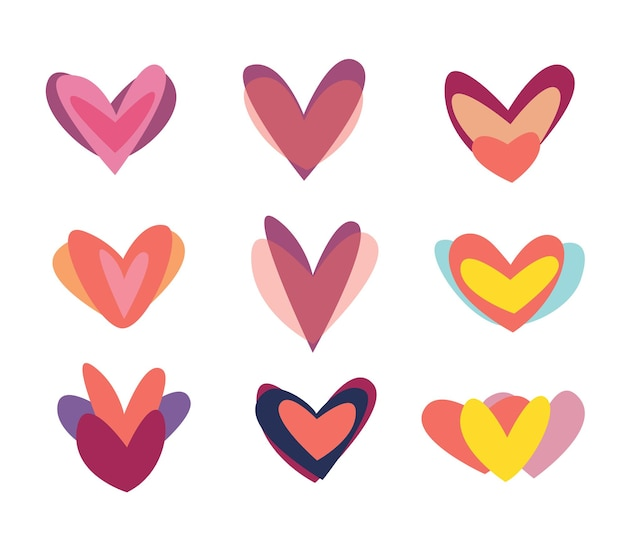Kreative rote herzen icon-set. valentinstag-zeichen-symbol-vorlage. flaches design. liebe grußkarte. designstil.