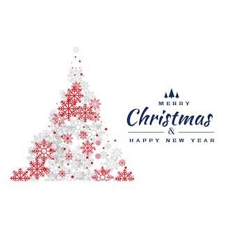 Kreative rote und graue schneeflocken weihnachtsbaum design