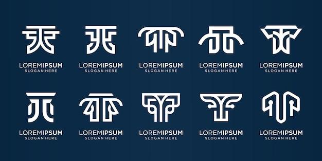 Kreative sammlung initiale t-logoschablonenikonen für das geschäft der unternehmensinspiration elegante unternehmensidentität premium-vektor